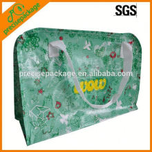 Reusable laminated woven pp bag with zipper