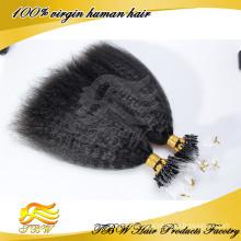 Les boucles droites de boucle d'anneau de Kinky micro ont incliné des prolongements de cheveux humains de Remy 0.9g / s