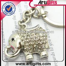 Llavero animal del metal del diamante artificial de la moda