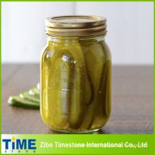 Jarro de pedreiro de vidro de alta qualidade para alimentos enlatados (mel, compotas, picles)