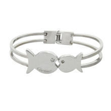 Brazaletes de cristal de acero inoxidable con par besar los peces románticos brazaletes de cristal