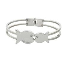 Bracelets en cristal en acier inoxydable avec un couple de baisers Bracelet en cristal romantique