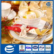Hochwertiges Weihnachtskeramik-Essgeschirr Gold-Dekor-Abendessen gesetztes neues Knochenporzellan