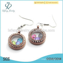 High quality stainless steel chocolate locket earring jewelry wholesale