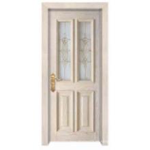 Diseño clásico simple europeo con la ventana de cristal Puerta de madera sólida