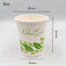 Vasos desechables de café desechables compostables certificados por PLA 8 oz