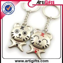 Promotion cadeau couple métal tigre porte-clés