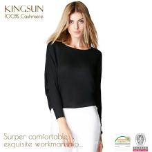 JS-16003 Rodada Pescoço Long Sleeve Loose Black Pure Cashmere Mulheres Malhas
