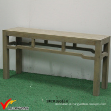 Único madeira marrom vintage mesa pequena consola corredor
