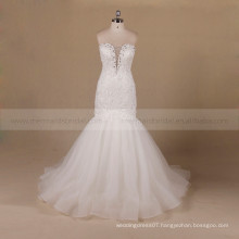 Decent Mermaid Style Beads Lie Around Sweet Heart Lace Wedding Dress