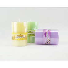 Velas pilar decorativas de color natural con aroma