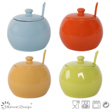 Colorful Glaze Stoneware Sugar Pot with Spoon