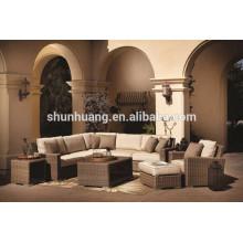Outdoor wicker furniture round brown color rattan sofa three seat sofa