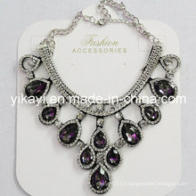 Lady Fashion Jewelry Grey Waterdrop Glass Crystal Pendant Necklace (JE0211-grey)