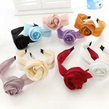 Bandeau Opaska Designer Silk Fabric Solid Rose Hairband Korean Headband Fashion Hair Accessories Dropshipping Wholesale Double Usage