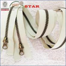 Vislon zipper plastic zipper with antique brass teeth for wholesale