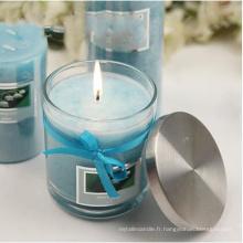 Diamètre 8.5cm, bougies en verre de cadeau de cadeau de taille de 10cm avec le logo sur des bouteilles