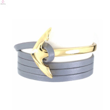 Cinza de plástico cadeia cabelo laço atacado pulseira de couro em branco