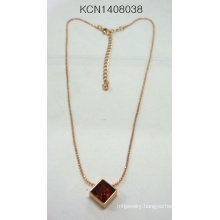 Simple Metal Plated Necklace with Square Pendant