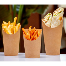 Disposable Paper container Food Grade Take Away Paper Chips Cup Brown Kraft Chip French Fries Holder Paper Cup Snack Cup