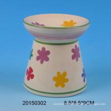 Großhandel Hauptdekoration Keramik Duft Öl Brenner mit Blumen-Design