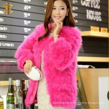 Manteau en fourrure à la plume de Turquie à long style à l'hiver pour femme