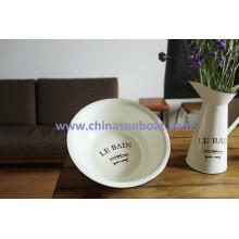 Sunboat Vintage Enamel Basin, Enamel Dish, Enamel Bowl
