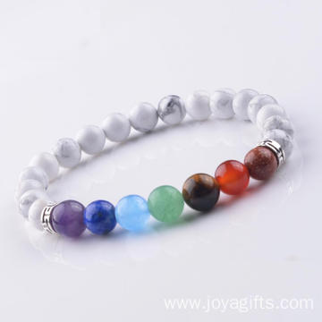 Fashion 8MM Howlite Stone Chakra Beaded Cuff Charm Bangle Bracelet