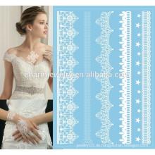 Kundenspezifischer Körper-Schönheits-Aufkleber Weiße oder schwarze Spitze-blaue Unterseiten-Farben-spezielle Tätowierung-Aufkleber für Hände j005