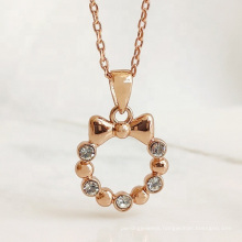 High Quality Brass Gold Plated Ribbon Bow Circle Crystal Pendant Necklace Jewelry for Women