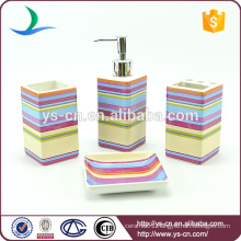 4pcs square colourful stripes ceramic industrial toilet accessories set