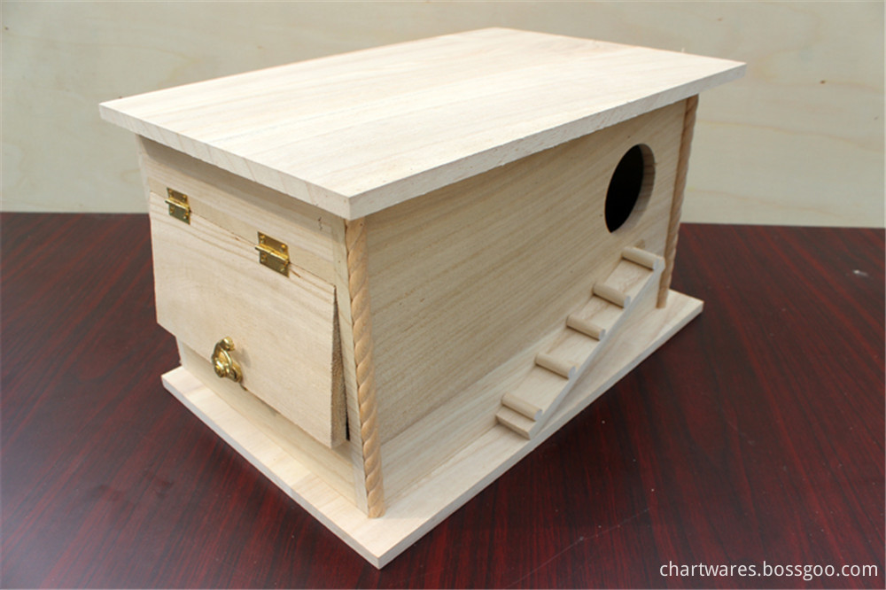 wooden bird house with stair and rest