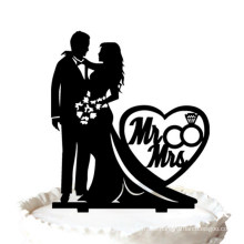 """Silhouette Bride and Groom with """"Mr & Mrs"""" Acrylic Cake Topper"""