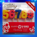Cera de parafina número de cumpleaños multicolor velas con 0-9 a granel para la venta Caja de PVC