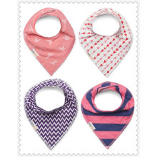Baby Bandana Drool Bibs for Girls. Pink, Purple & Navy Pattern Colors Set of 4. Absorbent Cotton, Adjustable Snaps Closure
