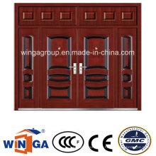 Casa grande que usa la puerta de acero de la seguridad de la entrada del metal del hierro (W-SD-09)