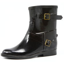 Black Women Rubber Boots With Two Metal Buckles