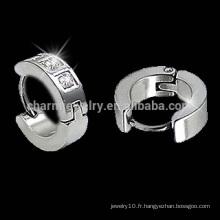 Surgical Steel CZ Channel Set Hoop Huggies Boucles d'oreilles 2014 pour boy new Bijoux pour femme fashion earring HE-018
