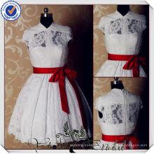 JJ3604 Lace vestidos de casamento de comprimento de chá inchado com mangas de manga curta de padrões de vestidos de noiva de renda curta 2014