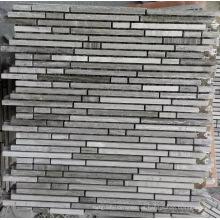 Mosaico de mosaico lineal mosaico de piedra de mármol gris (HSM218)