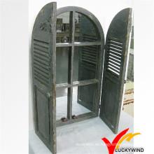 Diseño de obturador de ventana Esculpido Marco de espejo de madera antigua