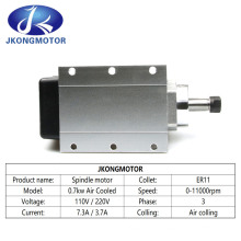 0.7kw 700W Air Cooled High Speed Spindle Motor with Inventer /Driver Er11 CNC Router Machine Electric Spindle Motor Manufacturer