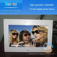 1024 * 600 de alta resolución marco de fotos de 10 pulgadas digital