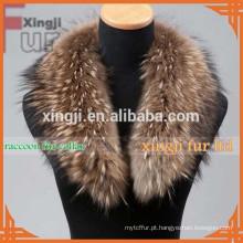 Gola de pele de guaxinim de pele de guaxinim cor natural da pele de qualidade superior para jaqueta
