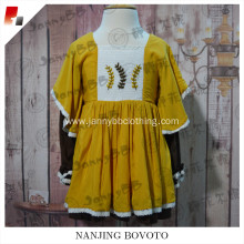 mustard hand embroidery long sleeve dress