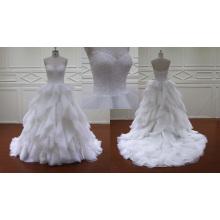 Robe de mariée nuptiale à volants en organza à volants