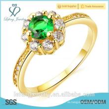 Hochwertiges hochglanzpoliertes Gold überzogener Goldfingerring entwirft Diamantgelb-Goldringe