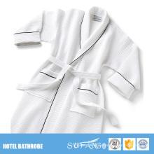 Plus Size Cotton Waffel Mens Hotel Bademantel mit Einfassung