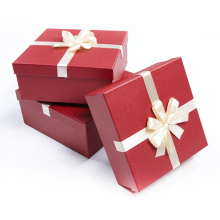 Christmas Custom Paper Gift Packaging Box with Silk Ribbon