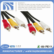 10 pies 3-RCA (L + R + V) 3 RCA macho a 3 RCA macho Cable de audio y vídeo AV